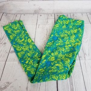 LuLaRoe Tall and Curvy Leggings Green Blue Floral